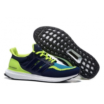 Мужские кроссовки Adidas Ultra Boost (dark blue/light green) - N10592